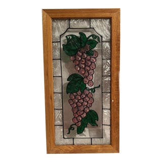 Vintage Painted Glass Window with Grapes
