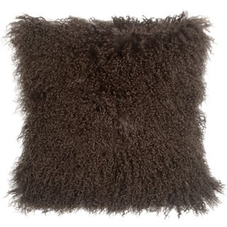 Mongolian Sheepskin Chocolate Brown 18x18 Pillow