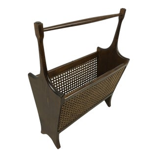 Wood and Cane Magazine Rack