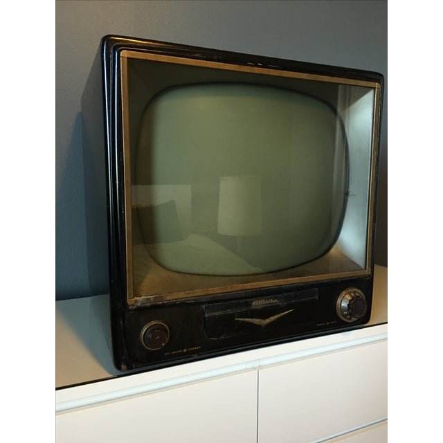 Image of 1950s Rca Television in Rare Black Metal Case
