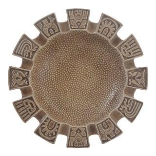 Mid Century Glazed Pottery Mayan Ashtray Decorative Bowl