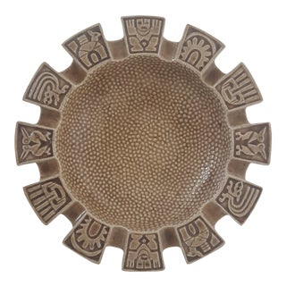 Mid Century Studio Pottery Mayan Ashtray Decorative Bowl Signed