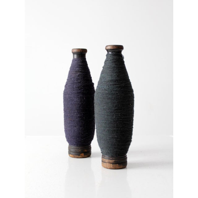 Antique Wooden Spools With Thread - a Pair - Image 5 of 7