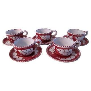 MCM Italian Giordano Cups & Saucers, 10-Pcs