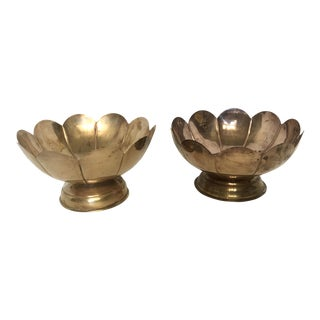 Brass Scalloped Lotus Bowls - A Pair