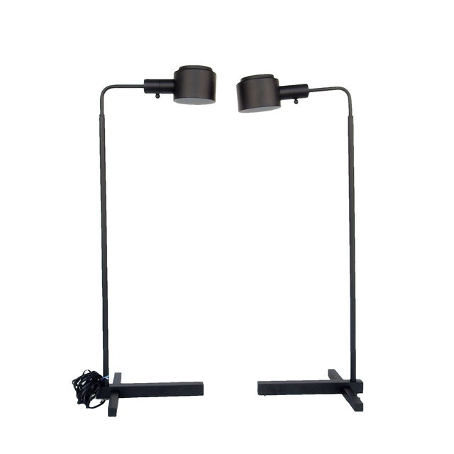 Original Casella Black Floor Lamps - Pair - Image 1 of 9