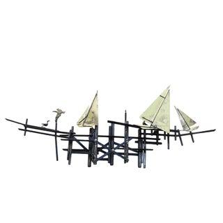 Mid-Century Modern Brass Sailboats Wall Art