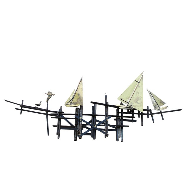 Mid-Century Modern Brass Sailboats Wall Art - Image 1 of 3