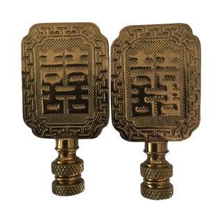 Asian Symbol Brass Lamp Finials - A Pair