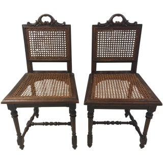 French Henri II Carved Caned Chairs - a Pair