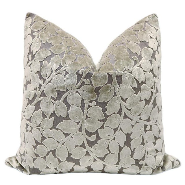 """22"""" Taupe Leaf Cut Velvet Pillows - a Pair - Image 2 of 3"""