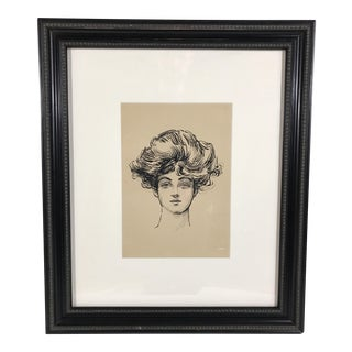 Vintage Ink Drawing of a Woman