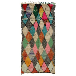 Vintage Moroccan Boho Chic Tribal Style Berber Rug - 4′8″ × 9′7″