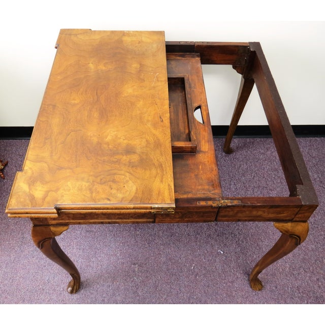 Image of Burton Ching Walnut Leather Inlay Game Table