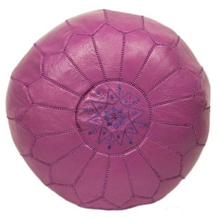 Lavender Embroidered Leather Pouf (Stuffed)