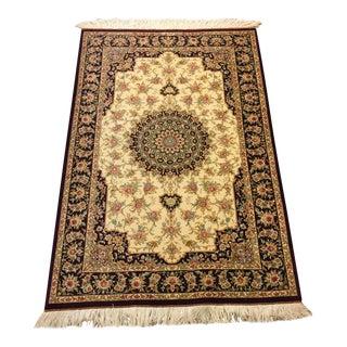 Handmade Persian Silk Qum Rug - 3′3″ × 4′11″