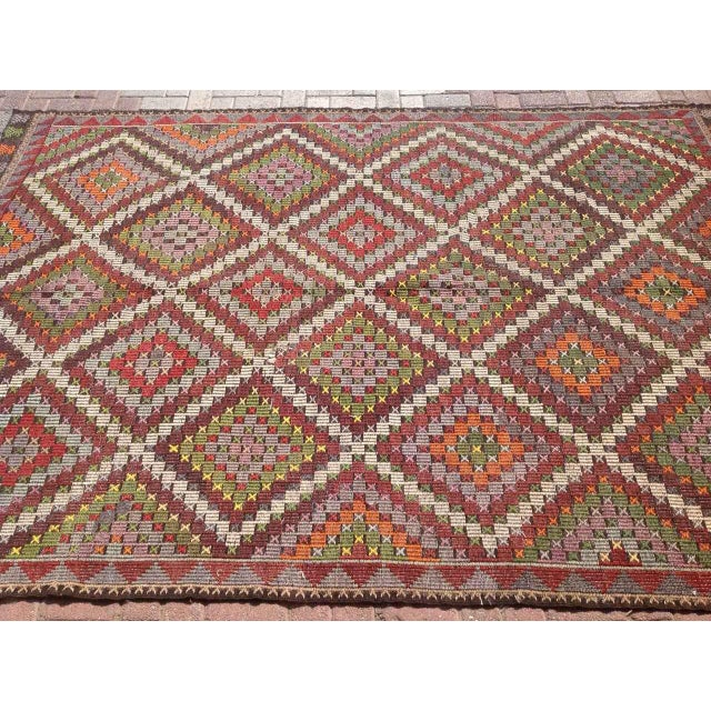 Vintage Turkish Kilim Rug - 6′9″ × 9′11″ - Image 4 of 6