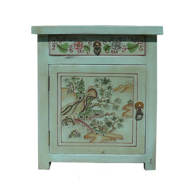 Oriental Pastel Blue Kid Scenery Side Table - Image 1 of 5