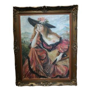 """Maiden With Guitar"" Original Watercolor"