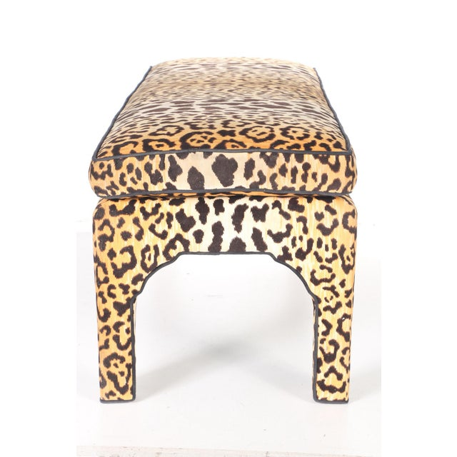 Leopard Print Upholstered Bench - Image 2 of 7