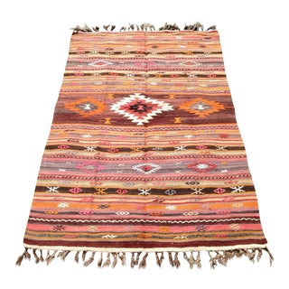 Vintage Turkish Kilim Rug - 4′1″ × 6′7″
