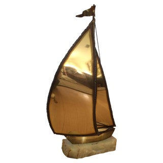 Brutalist Brass Sailboat on Onyx Signed by DeMott