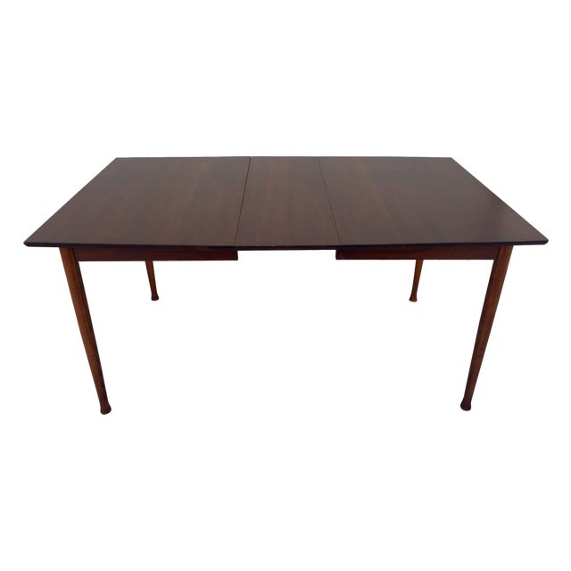 Modern Expandable Dining Table: Restored Mid Century Modern Walnut Expandable Dining Table