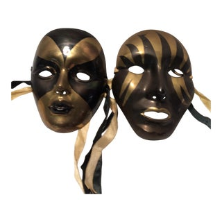 Pair Of Vintage Black & Gold Brass Wall Masks