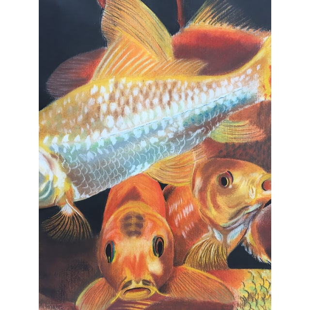 Vintage Koi Fish Original Pastel Framed - Image 5 of 6