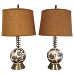 Image of Mid Century Brass Corkscrew Table Lamps - A Pair