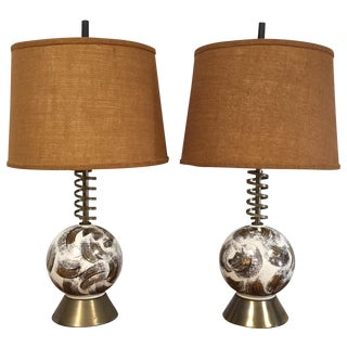 Mid Century Brass Corkscrew Table Lamps - A Pair