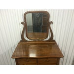 Image of Solid Oak Antique Tallboy Dresser with Mirror