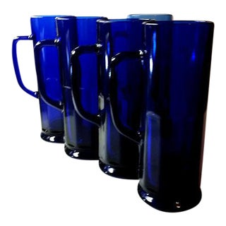 Tall Cobalt Glass Mugs or Steins- Set of 5
