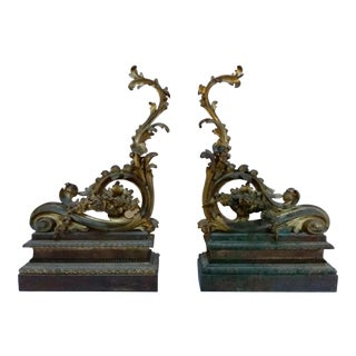 19th C. French Bronze Chenets - A Pair