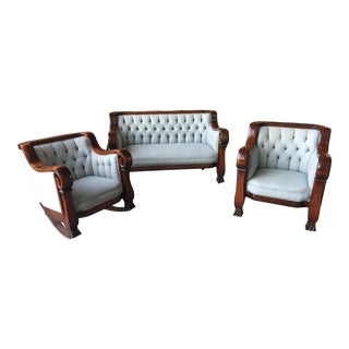 3 Pc Antique Parlor Set Mahogany Empire Circa 1890