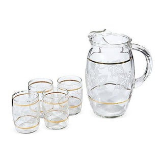 Gilt-Banded Ivy Beverage Set - Set of 5