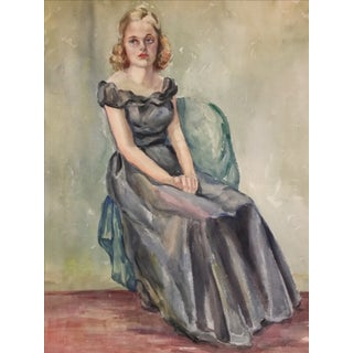 1930s Watercolor Portrait of a Young Girl