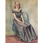 Image of 1930s Watercolor Portrait of a Young Girl