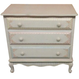 3-Drawer Painted Pastel Dresser with Mirror