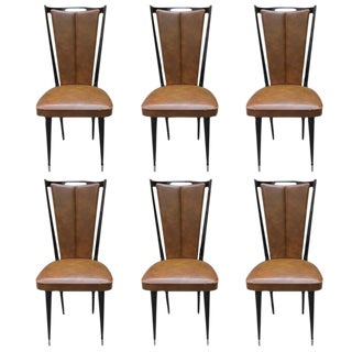 Vintage French Art Deco Mahogany Dining Chairs - Set of 6