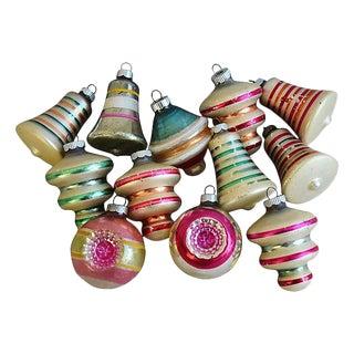 Fancy Retro 1960s Christmas Ornaments w/Box - Set of 12
