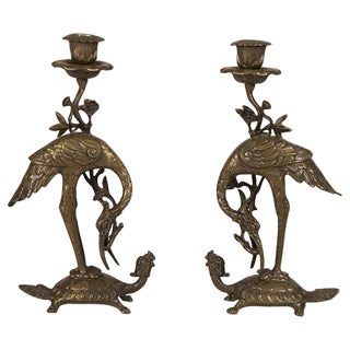 Bronze Crane on Turtle Pair Candlesticks, France c.1840
