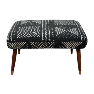 Mid-Century Footstool With African Mudcloth
