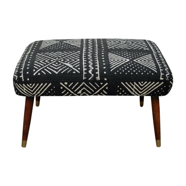 Mid-Century Footstool With African Mudcloth - Image 1 of 7