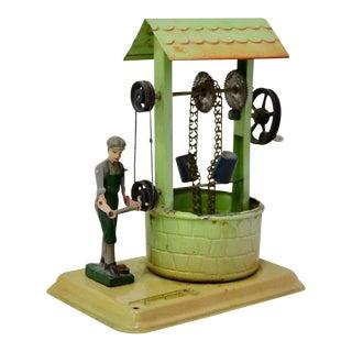 """1950s Fleischmann Tin Toy """"Boy At Well"""""""