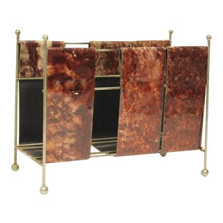 Italian Aldo Tura Style Lacquered Leather Magazine Rack
