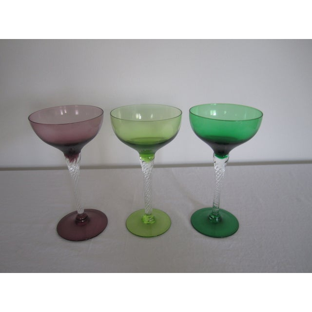 Vintage Blown Glass Champagne Glasses - Set of 3 - Image 2 of 8