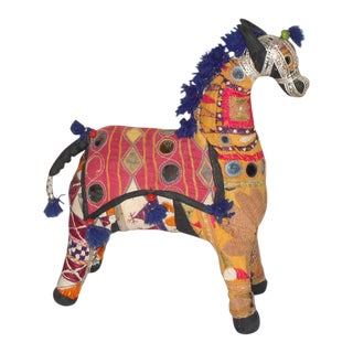 Vintage Indian Rajasthani Fabric Horse