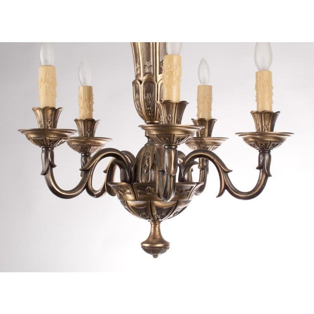 French Gilded Bronze Chandelier circa 1920's - Image 4 of 9