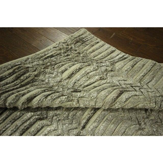 "Wool & Silk Pile Gray Moroccan Rug - 7'4"" x 8'2"" - Image 9 of 10"